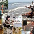 Representação de algumas ações da Secretaria: Rede Lucy, Praia Acessível, Biblioteca, Academia e Memorial
