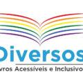 Logomarca do projeto Diversos - Livros Acessíveis e Inclusivos com ilustração de páginas de livro repreentando asas de uma ave em alusão à viagem, em sentido figurado, propiciada pela leitura
