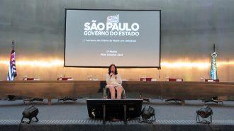 Foto da Célia Leão (Secretária de Estado dos Direitos da Pessoa com Deficiência de São Paulo) no palco do auditório da Secretaria.