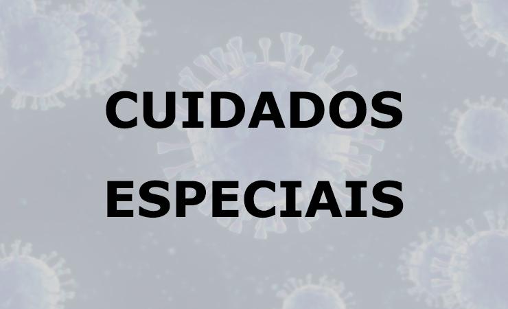 O texto Cuidados Especiais e de fundo uma imagem de vírus.