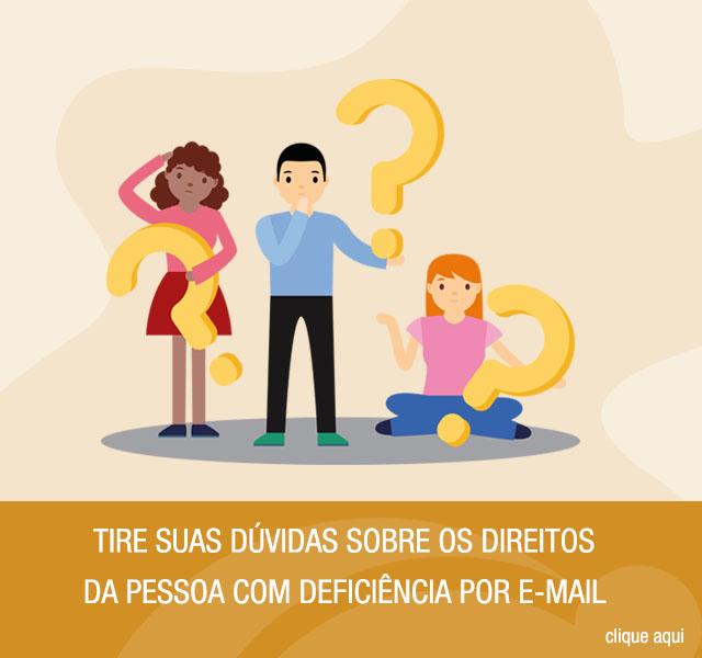 Ilustração de um atendente e uma mulher com deficiência visual. Ao lado da ilustração, tem uma arte laranja com o texto: Serviço de Apoio Psicológico para pessoas com deficiência. Clique aqui.
