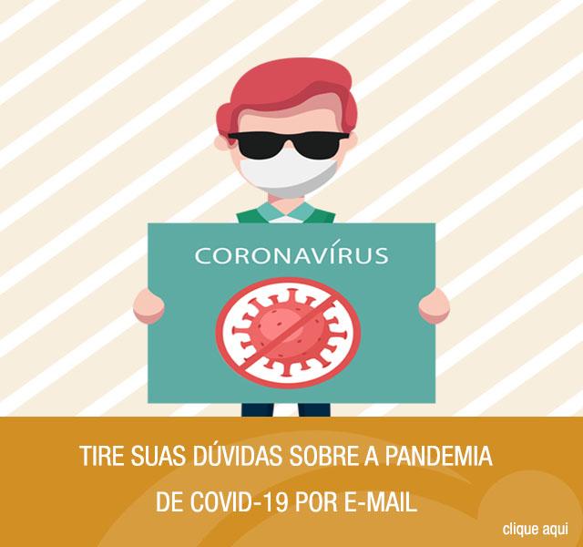 Ilustração de um homem cego segurando uma placa com o texto coronavírus e a ilustração um vírus. Ao lado da ilustração, tem uma arte laranja com o texto: Tire suas dúvidas sobre a Pandemia de COVID-19 por e-mail.