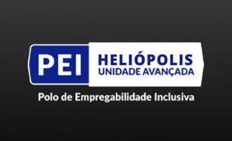 Imagem com fundo preto e o Texto Polo de Empregabilidade Inclusiva - PEI Heliópolis Unidade Avançada em letras brancas e azuis.