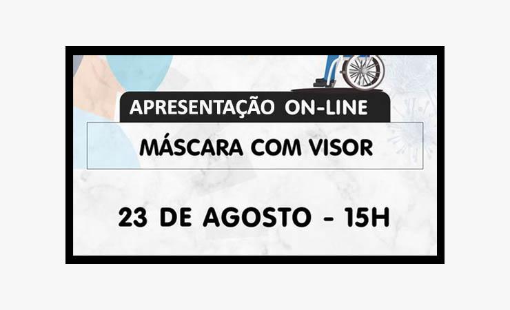 Imagem com fundo cinza e o texto apresentação on-line - Máscara com visor - 23 de agosto - 15h